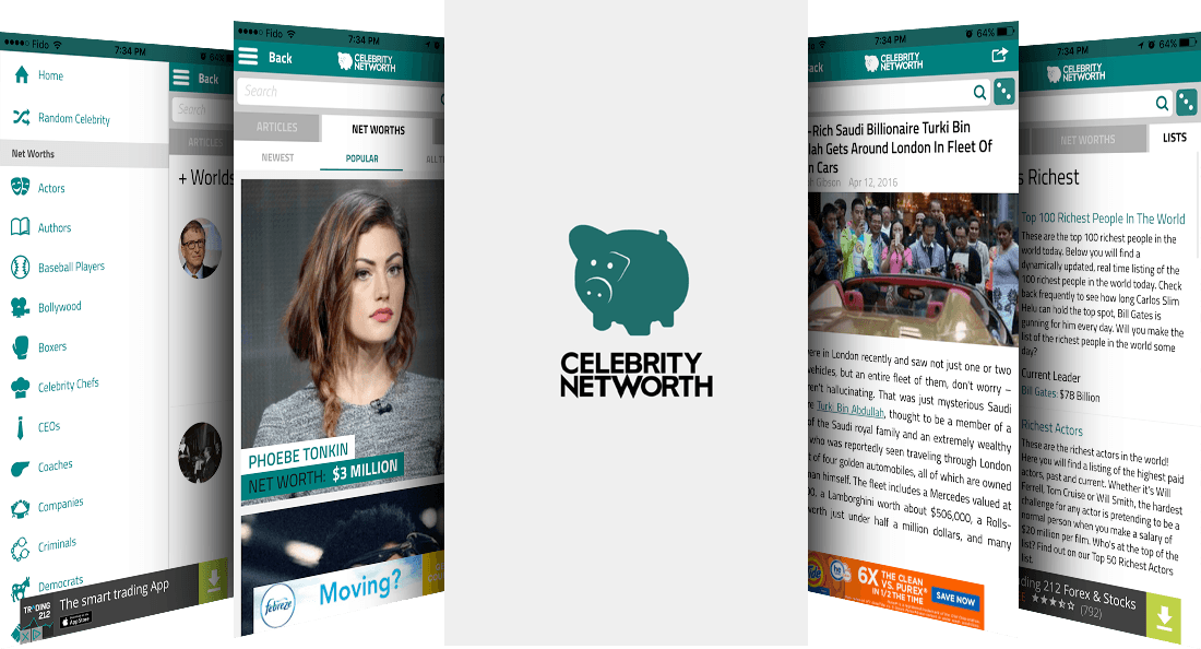Screenshots of the Celebrity Net Worth app