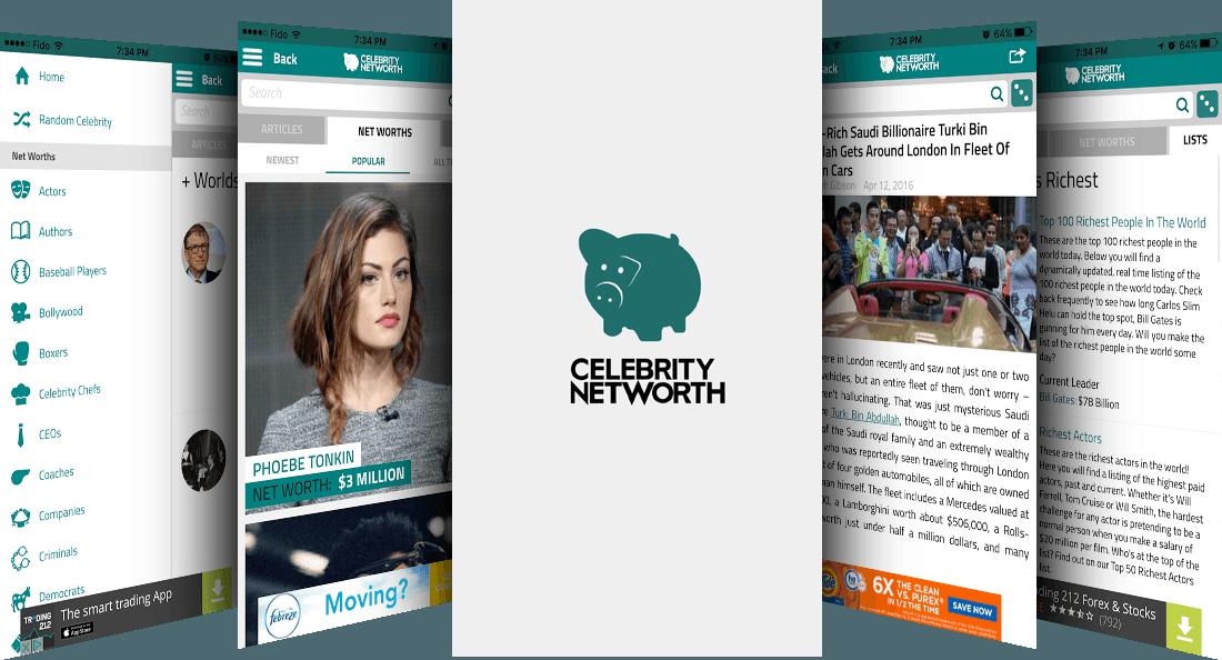Screenshots of the Celebrity Net Worth app
