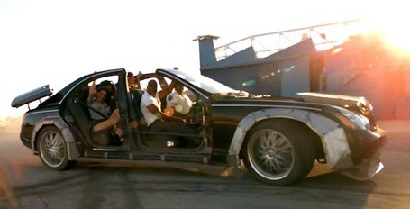 "Jay-Z in his custom Maybach in the ""Otis"" music video"