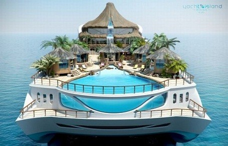 Front view of the Tropical Island Paradise themed mega-yacht