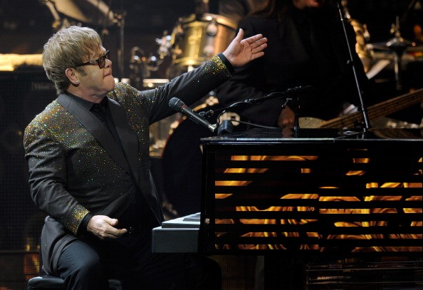 Elton John showboating for the crowd at Caesars Palace, Las Vegas