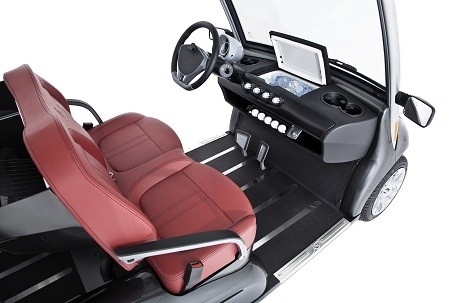 Garia golf carts come with a dash-mounted fridge, like the ones found in Bentleys or Rolls-Royces