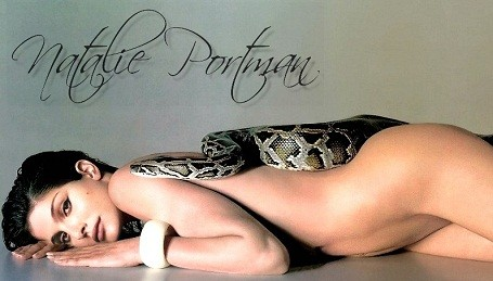 Natalie Portman posing nude with a snake