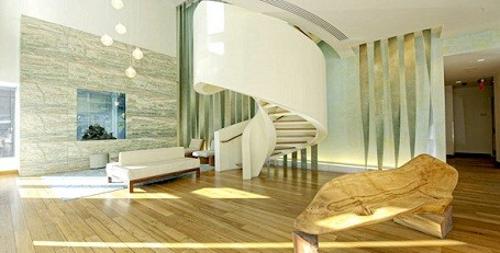 Lobby in the Riverhouse condo where Leonardo DiCaprio lives