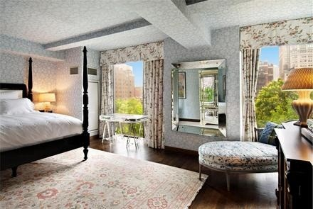 Jennifer Aniston's master bedroom in her Gramercy Park condo in Manhattan, New York City