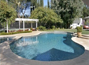 Pool behind Jonah Hill's Tarzana home in California