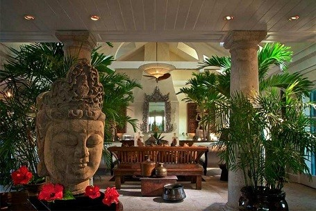 Lobby in the Musha Cay island resort.