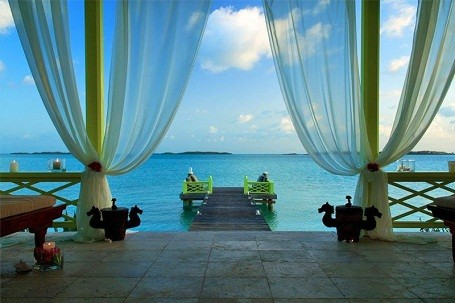Ocean view room at David Copperfield's Musha Cay resort.