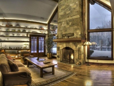 Living room and fireplace in Bruce Willis home in Hailey, Idaho.