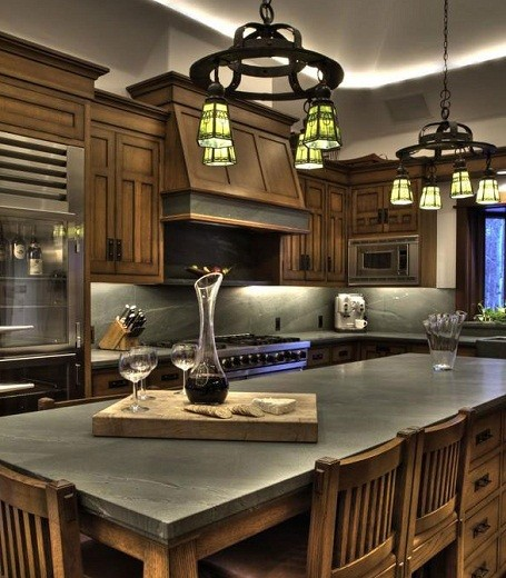Kitchen in Bruce Willis's home in the Sun Valley Resort town in Idaho.