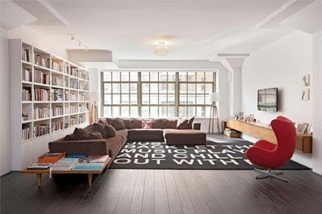 Damon Dash's living room in his foreclosed loft in Tribeca, New York City.