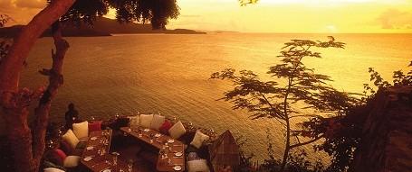 Restaurant patio on Richard Branson's Necker Island resort.