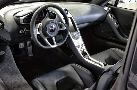 Interior of a McLaren MP4-12C supercar.