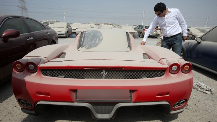 Abandoned Ferrari Enzo from Behind