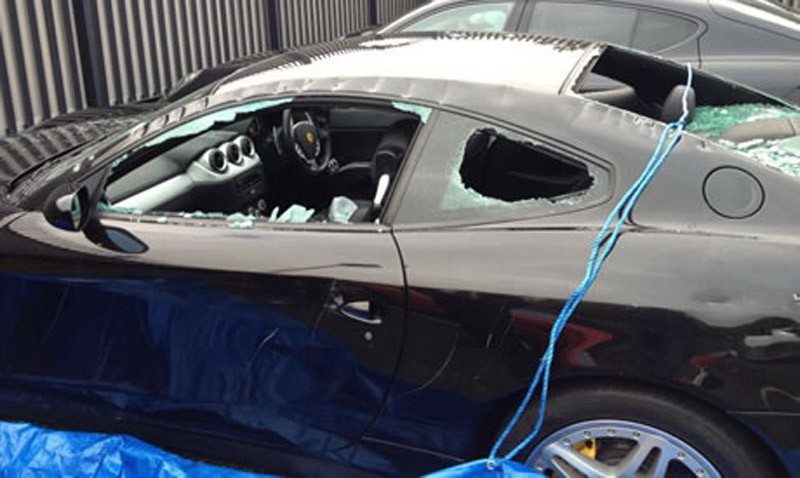 the destroyed Ferrari 612 Scaglietti