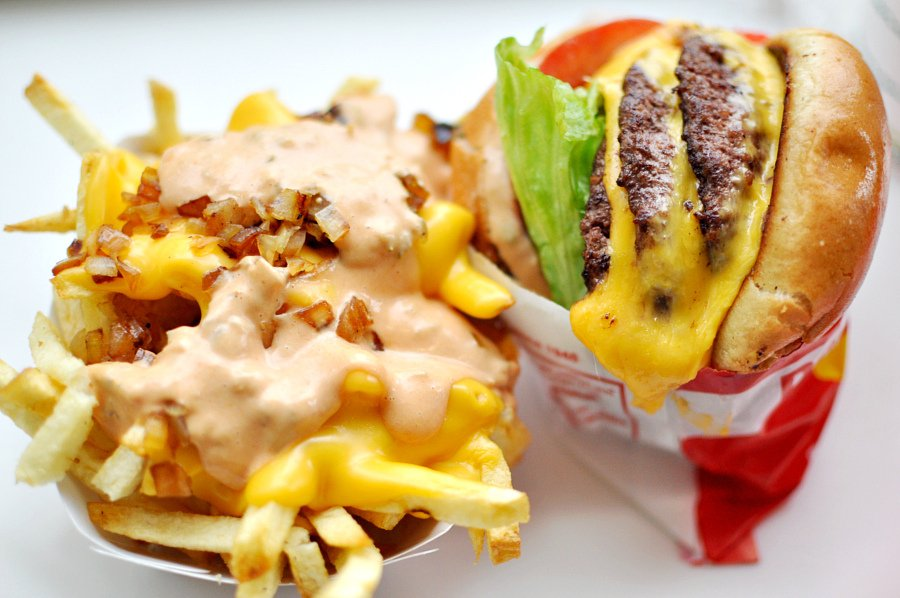 An In-N-Out burger with fries