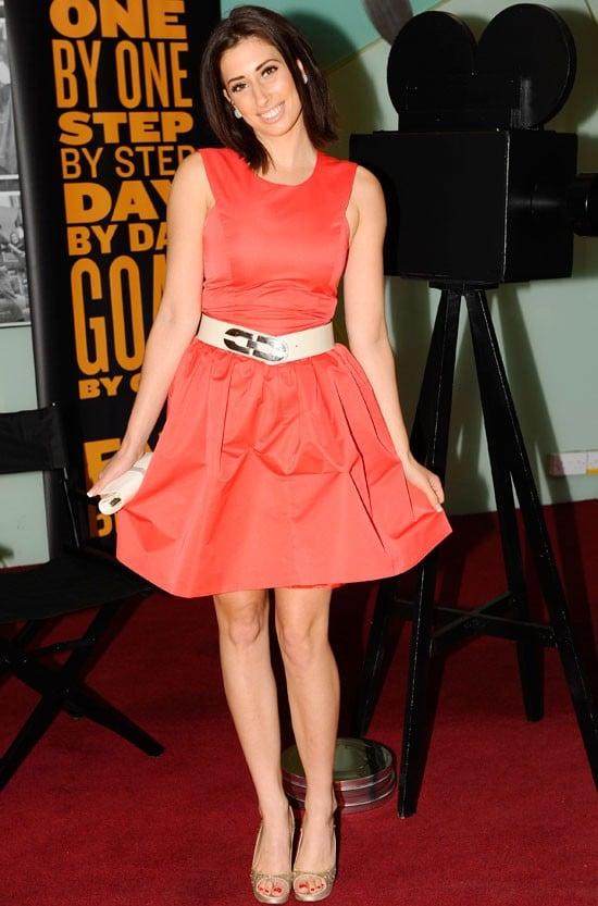 Stacey Solomon orange dress