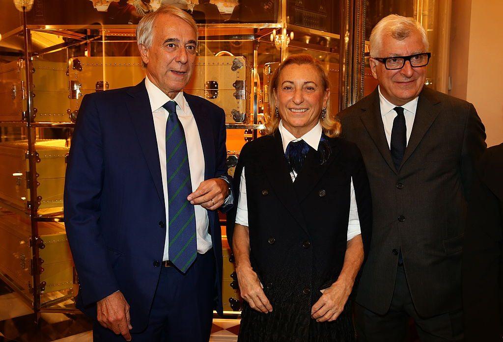 Giuliano Pisapia, Miuccia Prada and Patrizio Bertelli