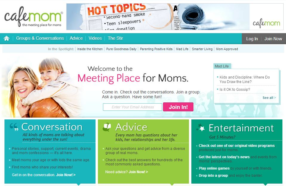 CafeMom homepage