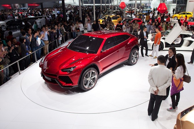 A Lamborghini Urus concept SUV is displayed at the Auto China 2012 car show in Beijing on April 26, 2012. Carmakers at the Beijing auto show are due to unveil scores of clean energy vehicles as they try to convince Chinese customers to swap gas-guzzling SUVs for cleaner but slower and pricier options. AFP PHOTO / Ed Jones        (Photo credit should read Ed Jones/AFP/GettyImages)