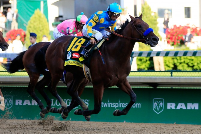 LOUISVILLE, KY - MAY 02:  American Pharoah #18, ridden by Victor Espinoza, leads the field to the finish line ahead of Firing Line #10, ridden by Gary Stevens, during the 141st running of the Kentucky Derby at Churchill Downs on May 2, 2015 in Louisville, Kentucky.  (Photo by Travis Lindquist/Getty Images)
