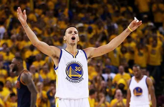 during Game One of the 2015 NBA Finals at ORACLE Arena on June 4, 2015 in Oakland, California. NOTE TO USER: User expressly acknowledges and agrees that, by downloading and or using this photograph, user is consenting to the terms and conditions of Getty Images License Agreement.
