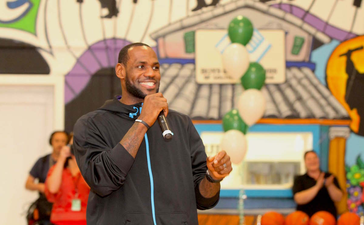 GRETNA, LA - FEBRUARY 15: LeBron James attends Sprite and the LeBron James Family Foundation unveil a legacy project, including a refurbished gymnasium at the Boys and Girls Club Southeast Louisiana on February 15, 2014 in Gretna, Louisiana. Aaron Davidson/Getty Images for Sprite.