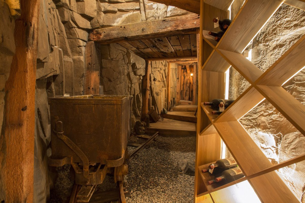 theres-a-56-foot-long-wine-cellar-thats-made-to-look-like-a-mining-shaft-known-as-the-wine-mine-it-can-hold-1600-bottles