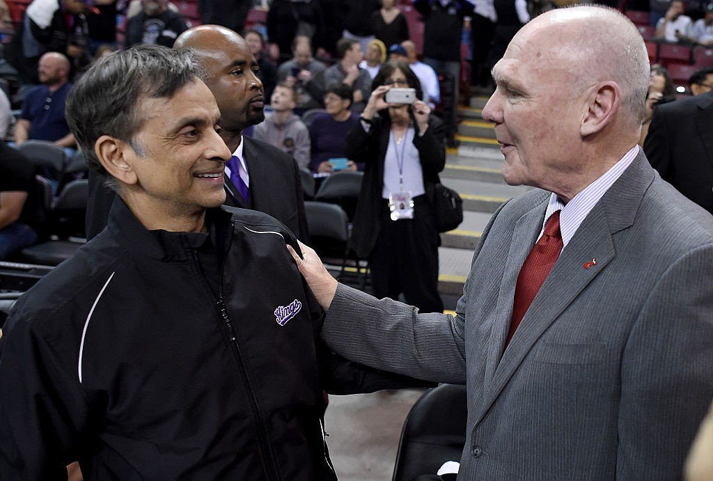 Vivek Ranadive with Coach George Karl (Via Getty Images)