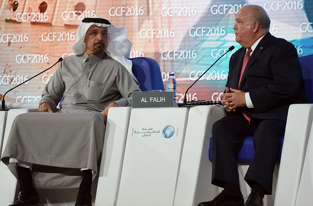 US Ambassador to Saudi Arabia Joseph Westphal (R) speaks as Khalid al-Falih, the chairman of Saudi state oil giant Aramco, listens during the 10th Global Competitiveness Forum on January 25, 2016, in the capital Riyadh. The an annual event brings together high-ranking Saudi officials and world business leaders. / AFP / Fayez Nureldine (Photo credit should read FAYEZ NURELDINE/AFP/Getty Images)