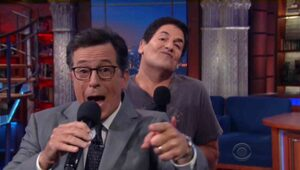 Thumbnail for Mark Cuban Muscially Roasts Donald Trump On 'Colbert'