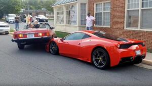 Thumbnail for Terrible Parallel Parker Somehow Crashes On Top Of Hood Of $300,000 Ferrari