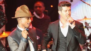 """Thumbnail for Robin Thicke And Pharrell Williams Unlikely To Have """"Blurred Lines"""" Lawsuit Overturned"""