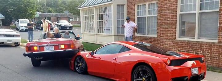 Terrible Parallel Parker Somehow Crashes On Top Of Hood Of $300,000 Ferrari