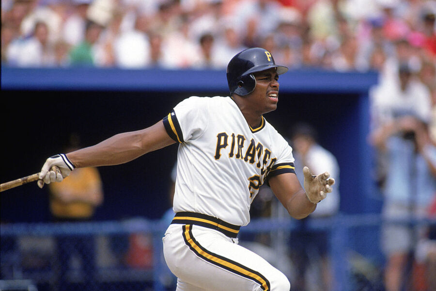 PITTSBURGH - 1990: Bobby Bonilla #25 of the Pittsburgh Pirates watches the flight of the ball as he follows through on his swing during a 1990 MLB season game at Three Rivers Stadium in Pittsburgh, Pennsylvania.