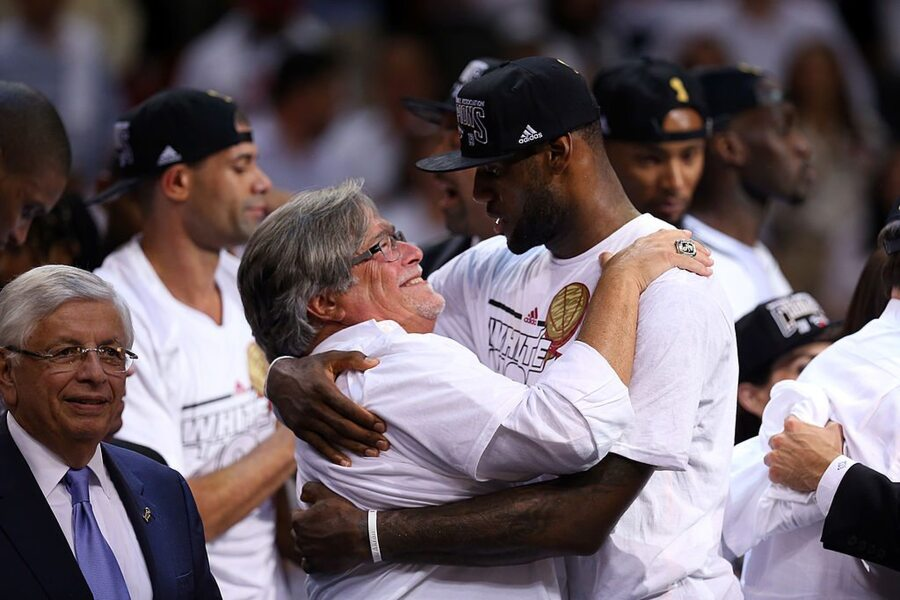 Mickey Arison and Lebron James Hug