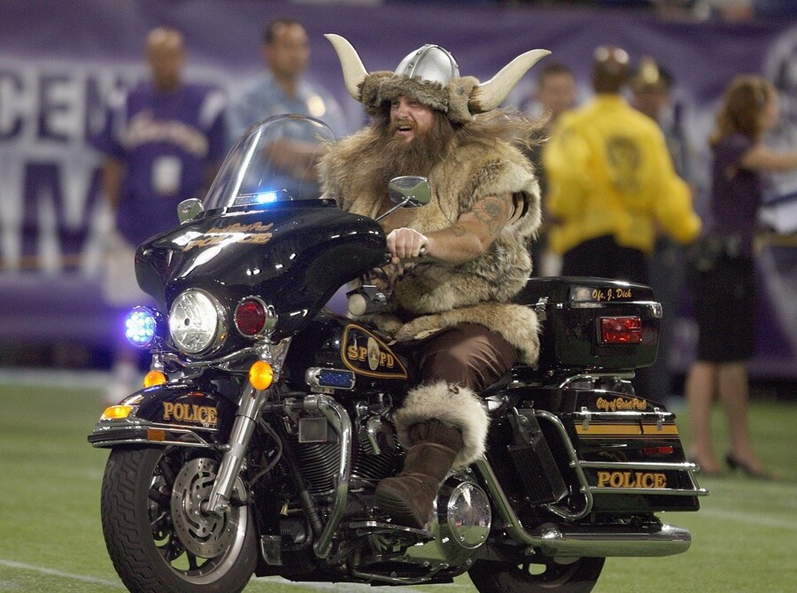MINNEAPOLIS - AUGUST 10: The Minnesota Vikings mascot rides a motorcycle on the field before the game against of the St. Louis Rams on August 10, 2007 at the H.H.H. Metrodome in Minneapolis, Minnesota. (Photo by David Sherman/Getty Images)