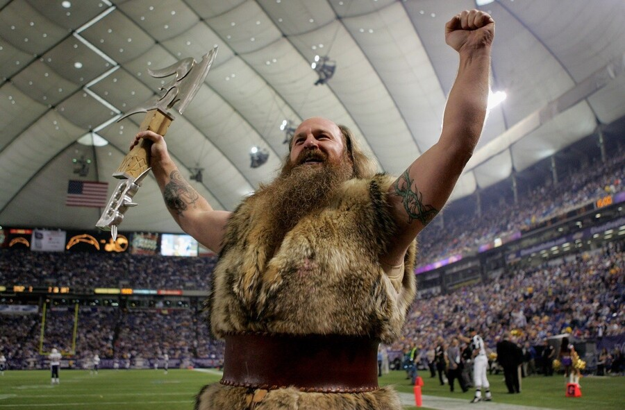 MINNEAPOLIS, MN - NOVEMBER 04: 'Ragnar' the Minnesota Vikings mascot portrayed by Joe Juranitch, entices the home crowd against the San Diego Chargers at the Hubert H. Humphrey Metrodome on November 4, 2007 in Minneapolis, Minnesota. (Photo by Doug Pensinger/Getty Images)