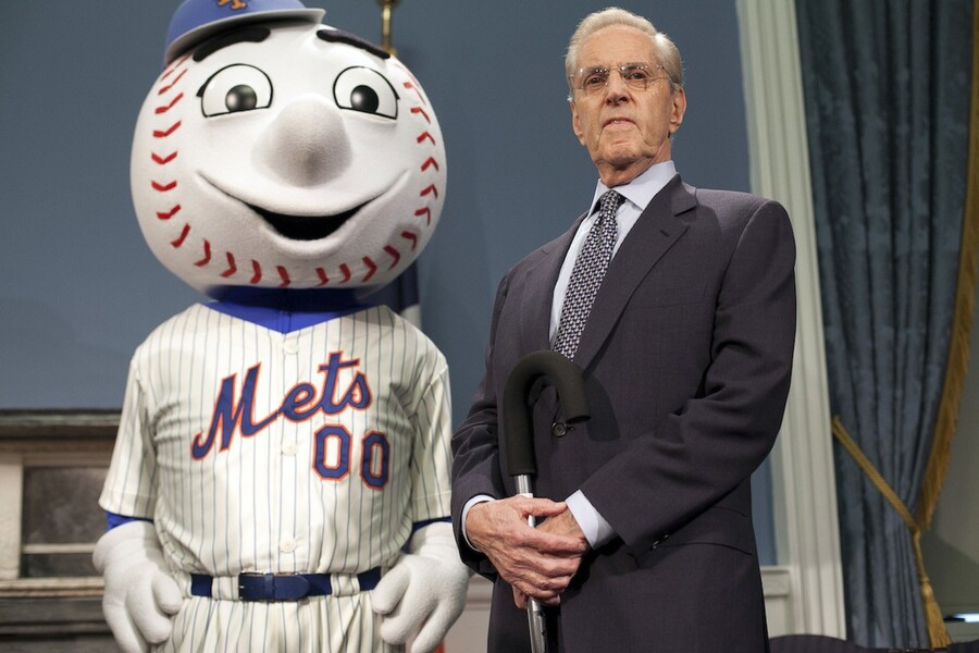 NEW YORK, NY - NOVEMBER 17: Mets Chairman and CEO Fred Wilpon (R) and the Mets' mascot Mr. Met attend a press conference at City Hall May 16, 2012 in New York. It was announced that at Citi Field and New York Mets will host Major League Baseball's 2013 All-Star game. (Photo by Allison Joyce/Getty Images)