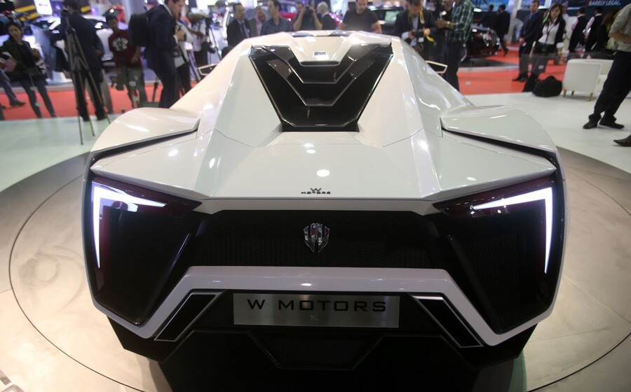 The first Arabian supercar, LykanHypersport is pictured during the third International Qatar Auto Show on January 28, 2013 in Doha. Created by Beirut-based W Motors the LykanHypersport is labeled as the most exclusive, luxurious and technologically advanced Hypercar in the world that boasts never seen before cutting-edge technologies inside and out. AFP PHOTO / AL-WATAN DOHA / KARIM JAAFAR == QATAR OUT == (Photo credit should read KARIM JAAFAR/AFP/Getty Images)