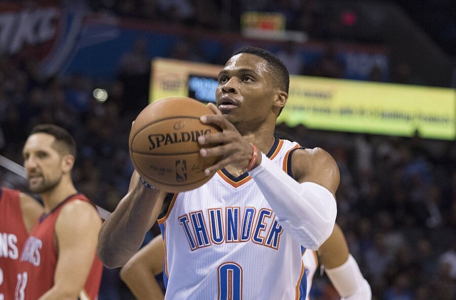 OKLAHOMA CITY, OK - NOVEMBER 18 : Russell Westbrook #0 of the Oklahoma City Thunder shoots a technical foul shot against the New Orleans Pelicans during the first quarter of a NBA game at the Chesapeake Energy Arena on November 18, 2015 in Oklahoma City, Oklahoma. NOTE TO USER: User expressly acknowledges and agrees that, by downloading and or using this photograph, User is consenting to the terms and conditions of the Getty Images License Agreement. (Photo by J Pat Carter/Getty Images)