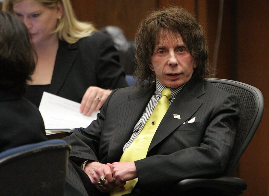 LOS ANGELES, CA - MARCH 26: Music producer Phil Spector listens on the last day of the prosecution's final rebuttal during closing arguments in his retrial on murder charges at Clara Shortridge Foltz Criminal Justice Center on March 26, 2009 in Los Angeles, California. The case went to the jury today. Spector, 67, is accused of fatally shooting 40-year-old Lana Clarkson in February 2003. The first trial was declared a mistrial in September 26, 2007. (Photo by Al Seib-Pool/Getty Images)