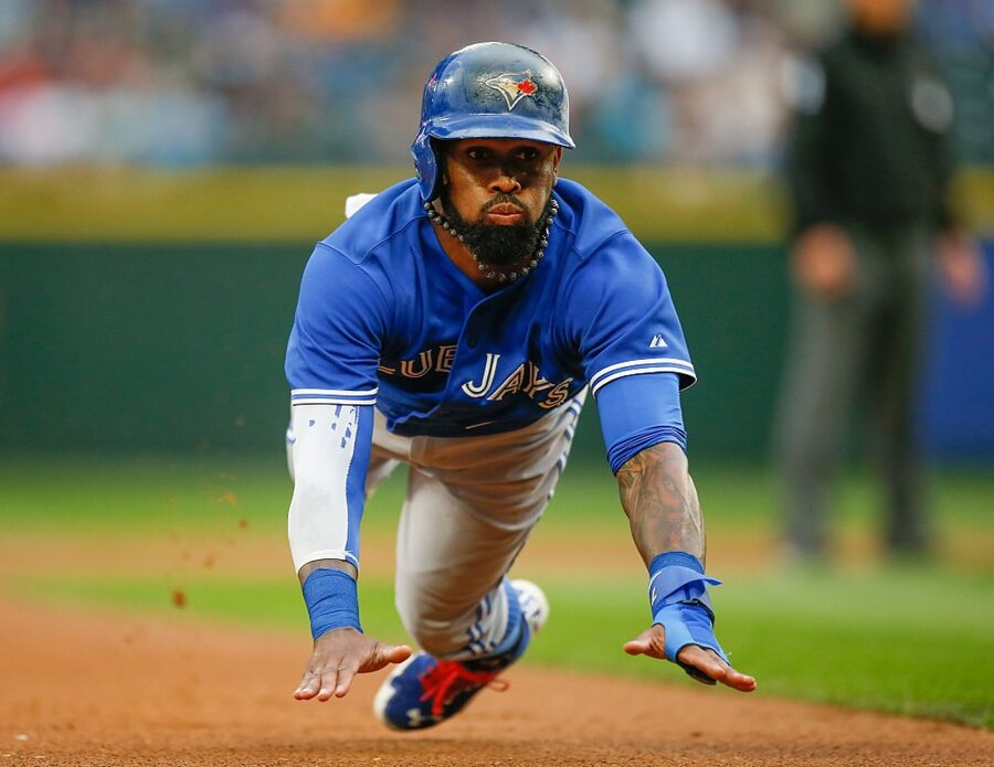 SEATTLE, WA - JULY 24: Jose Reyes #7 of the Toronto Blue Jays advances to third on a ground out off the bat of Josh Donaldson in the first inning against the Seattle Mariners at Safeco Field on July 24, 2015 in Seattle, Washington. (Photo by Otto Greule Jr/Getty Images)