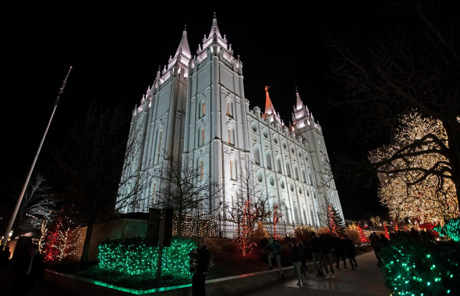 The Church of Jesus Christ of Latter-Day Saints, historic Mormon Salt Lake Temple is shown here with Christmas light display o