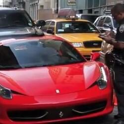 Idiot in Ferrari Runs Over Cop's Foot