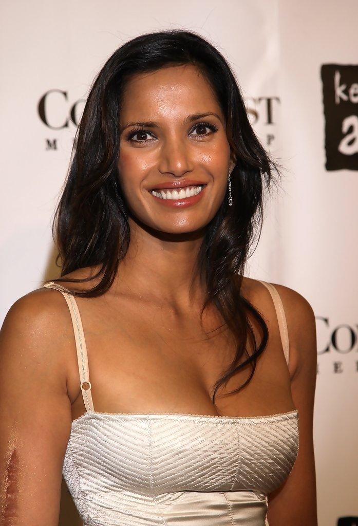 Padma Lakshmi white shirt