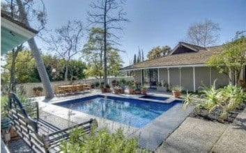 Jonah Hill's pool at his Hollywood Hills Home on Mulholland Drive