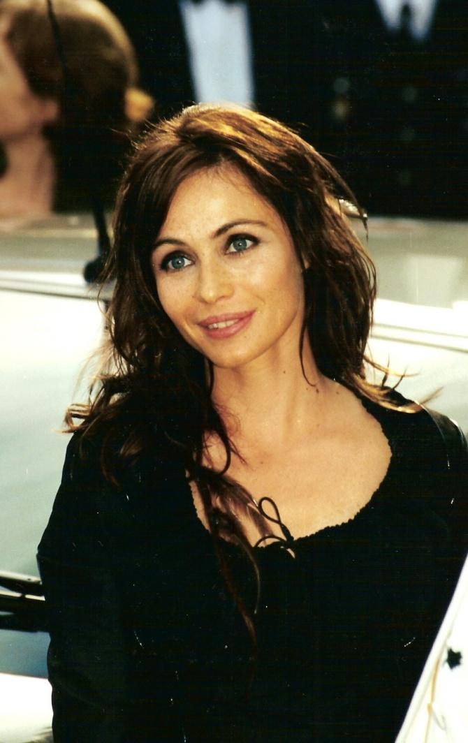 Emmanuelle Beart black dress