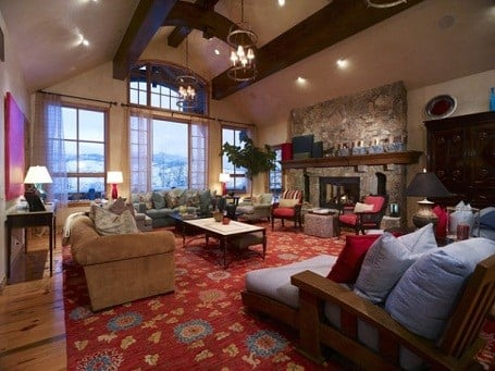 Living room in Camille Grammer's Colorado home