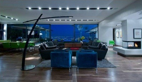Living room in Matthew Perry's Hollywood Hills home